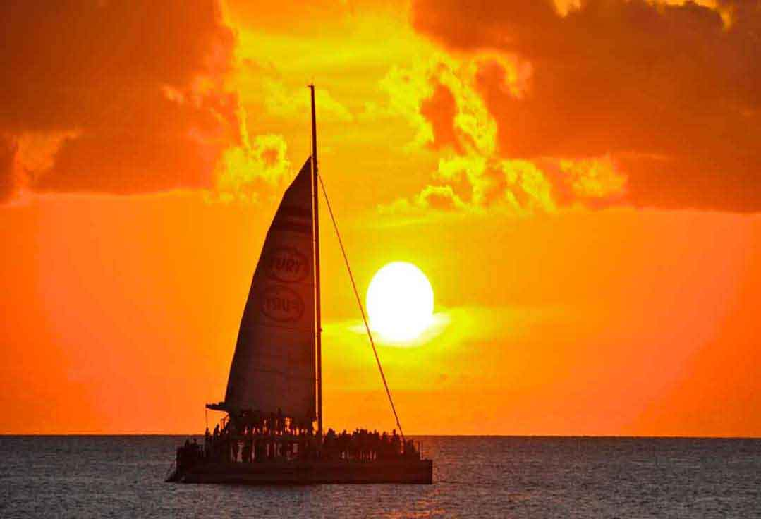 a catamaran sails during a Key West Sunset Cruise