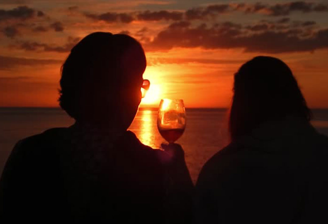 Drinking wine during a Key West Sunset Cruise