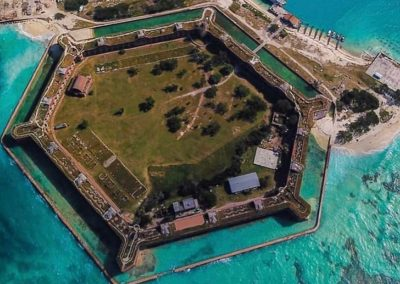 An aerial shot from above Dry Tortugas National Park