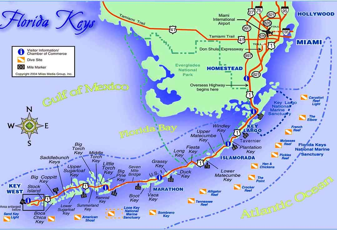 a map of dive sites with Key West Scuba Diving