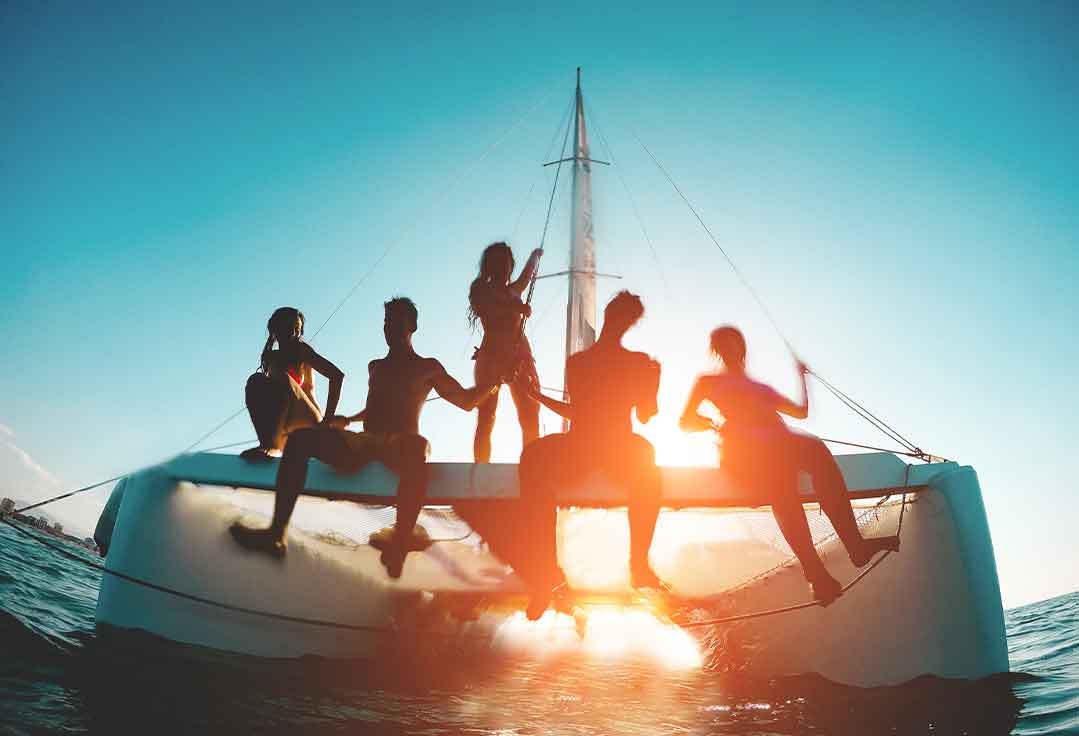 Group of friends having a sunset charter with key west boat party
