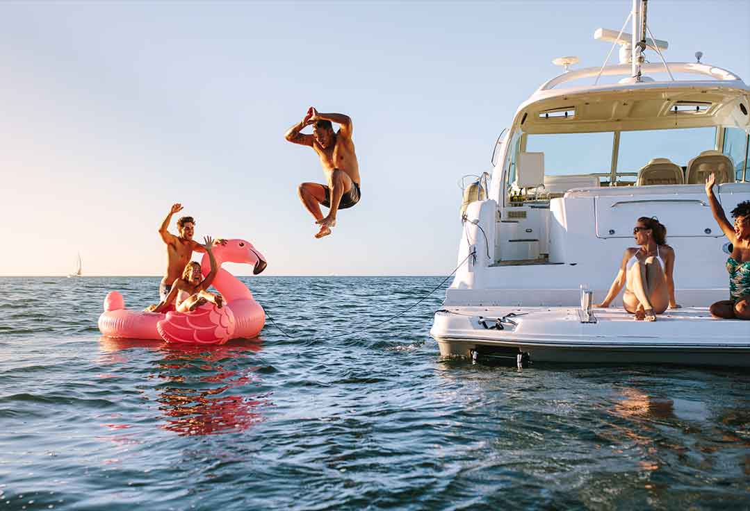 Friends have fun with watersports with Key West Yacht rentals