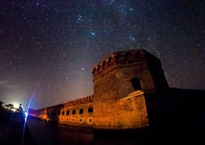 Fort Jefferson at Dry Tortugas National Park at night with stay on a boat in key west