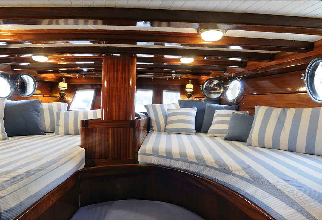 A yacht salon with stay on a boat in key west