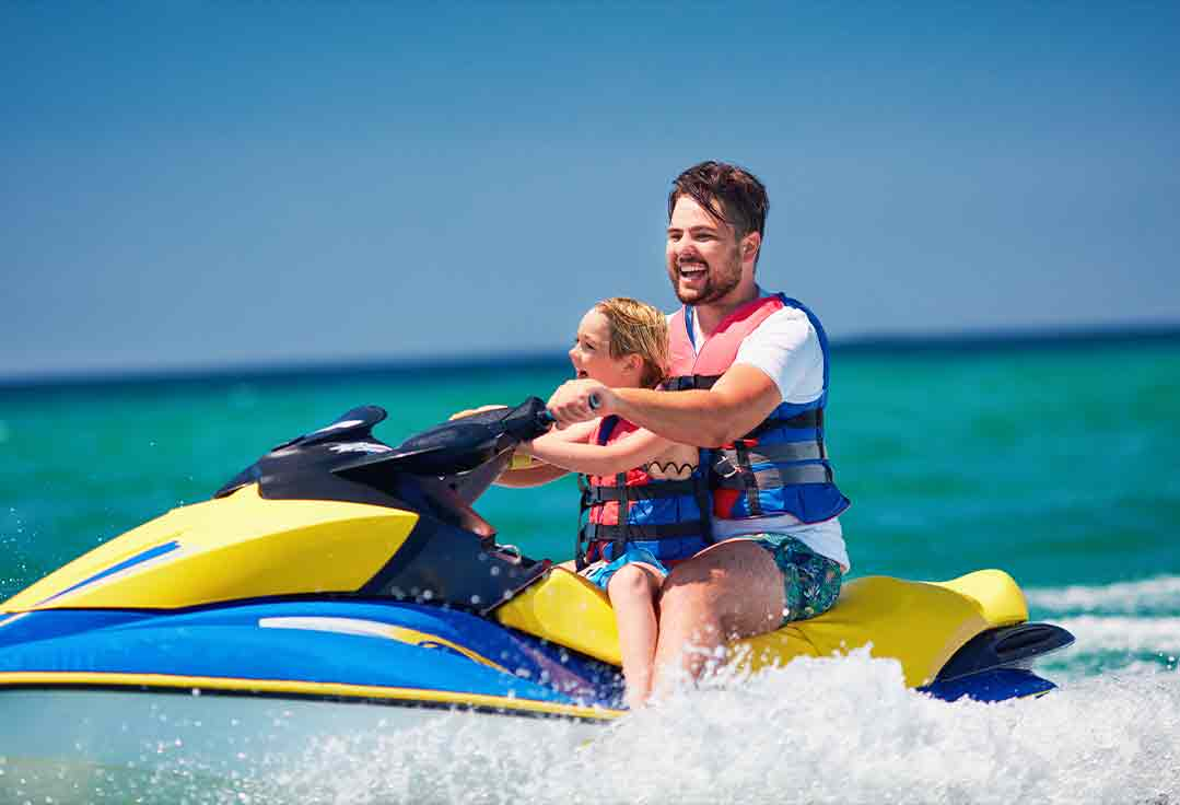 a family rides together with Key West Jet Ski Rental