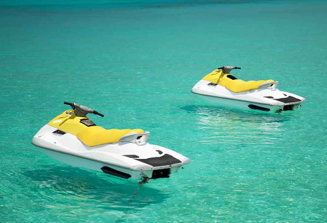 Jet Skis float before free ride with Key West Jet Ski Rental